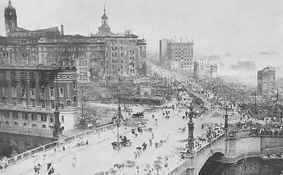 Nihonbashi after the 1923 earthquake.