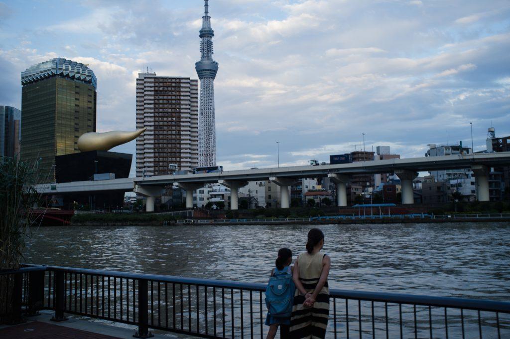 Asahi Beer Tower and the Sumida River.