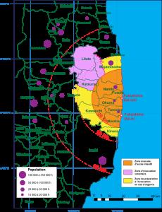 Carte de la zone d'évacuation autour de la centrale nucléaire de Fukushima.