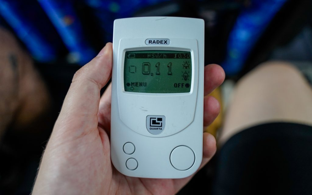 Geiger counter displaying radioactivity in Tokyo.