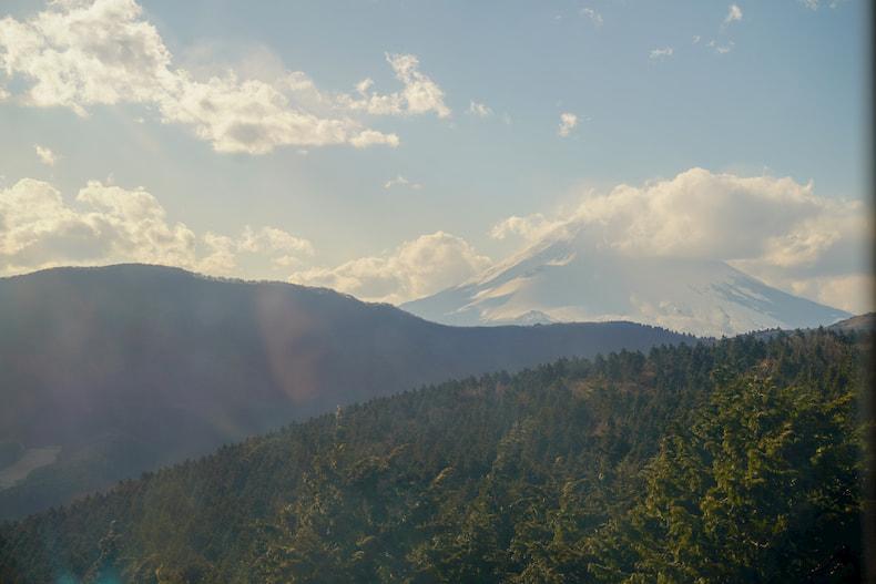 Vue du Mont Fuji depuis le téléphérique d'Hakone.