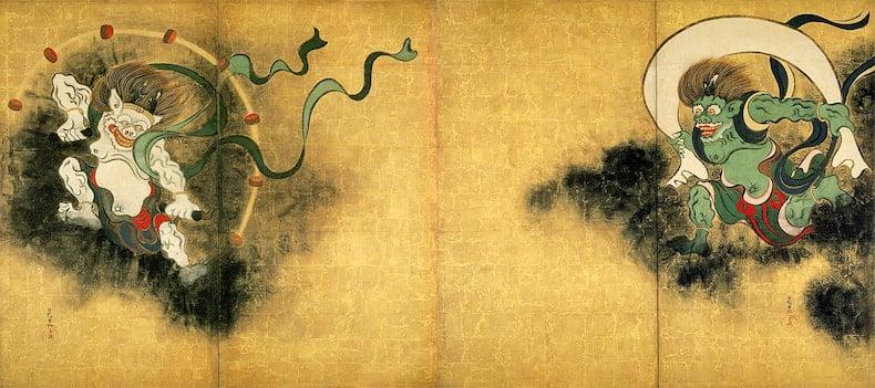 Fujin-Raijin-zu par Tawaraya Sotatsu. Oeuvre exposée au Musée National de Kyoto.