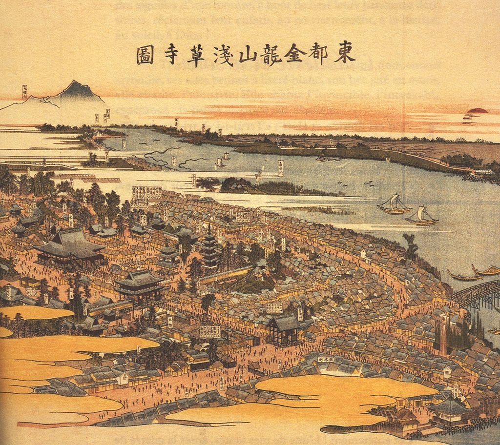 The Sensoji temple in 1820.