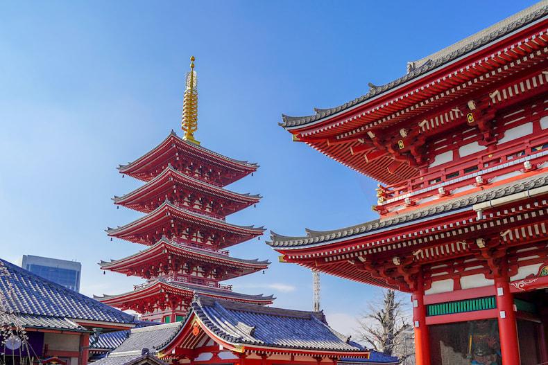 La pagode de Senso-ji et la porte Hozomon.